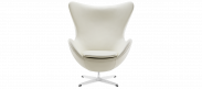The Egg Chair - White - Premium Leather - No Piping
