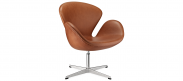 The Swan Chair - Dark Tan - Premium Leather - Without Piping
