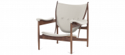 Chieftains Chair - White Leather - Walnut Wood