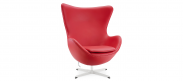 The Egg Chair - Red- Italian Leather - With Piping